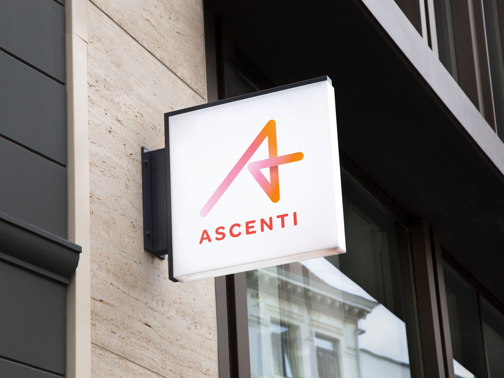 Hanging-Wall-Sign-MockUp-ascenti-compressor